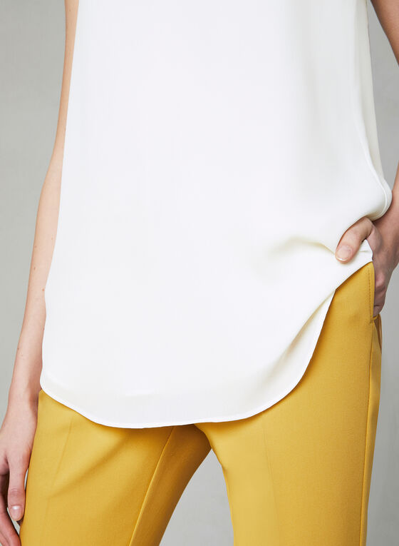 Sleeveless V-Neck Blouse, Off White, hi-res