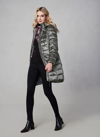 Novelti - Long Down Coat, Silver,  fall winter 2019, faux down, nylon, long sleeves, zipper, hood