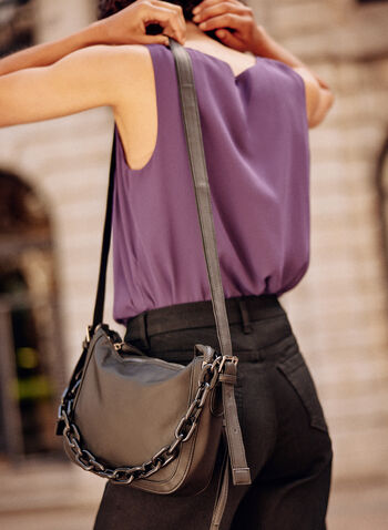 Chain Detail Handbag , Black,  fall winter 2021, accessory, accessories, purse, adjustable strap, zip, zipped, chain link, pocketed,