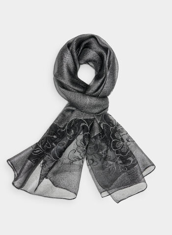 Embroidered Silk Scarf, Grey,  satin, silk, embroidery, floral, fall 2019, winter 2019