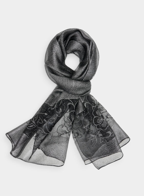 Embroidered Silk Scarf, Grey