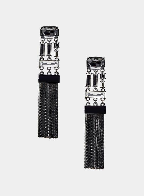 Chain Fringe Earrings, Black, hi-res