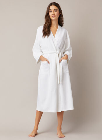 Textured Knit Robe, White,  fall winter 2020, robe, pyjama, bathrobe