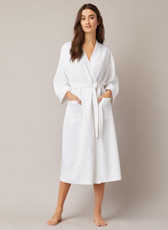 Peignoir long en tricot texturé, Blanc
