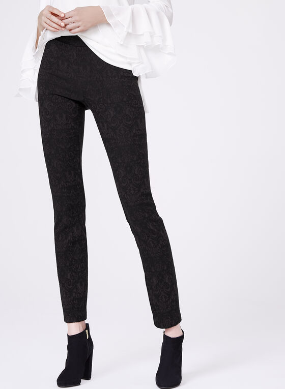 Pull-On Slim Leg Jacquard Pants, Black, hi-res