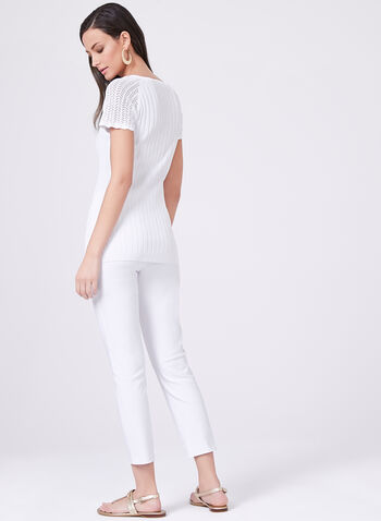 Vex – Short Sleeve Pointelle Ribbed Sweater, White, hi-res