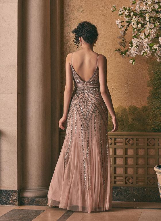 Marina - Embellished V-Neck Gown, Pink
