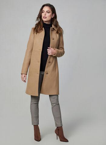 Novelti - Manteau en laine mélangée, Brun,  manteau, long, laine, boutons, col chemisier, tailleur, automne hiver 2019