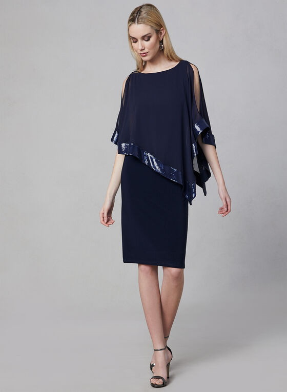 Joseph Ribkoff - Poncho Dress, Blue, hi-res