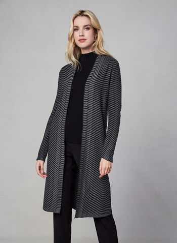 Striped Open Front Cardigan, Grey, hi-res,  Linea Domani, cardigan, open front, long sleeves, stripes, knit, fall 2019, winter 2019
