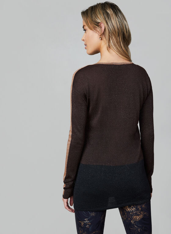 Metallic Knit Tunic, Brown, hi-res