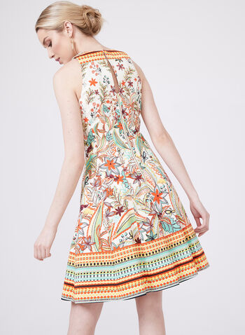 Maggy London - Floral Leaf Print Cotton Dress, Multi, hi-res