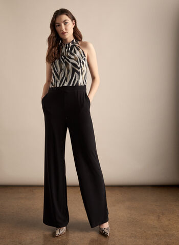 Zebra Print Bodice Jumpsuit, Black,  jumpsuit, zebra, textured, twist neck, sleeveless, wide leg, pockets, jersey, spring summer 2020