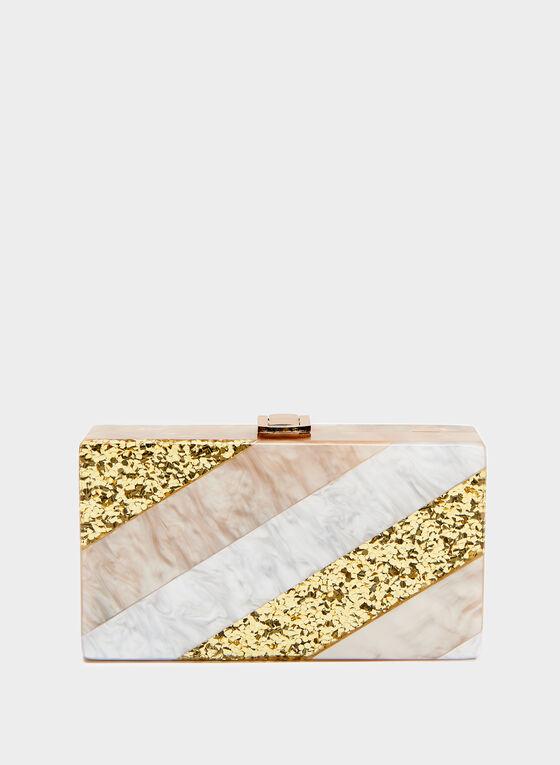 Pochette aspect marbre et paillettes, Rose, hi-res