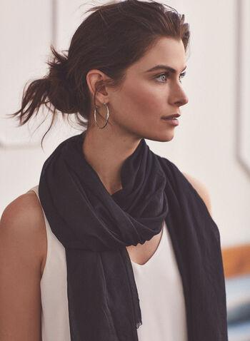 Crinkle Textured Wrap, Black,  scarf, wrap, crinkle, fringe, spring summer 2021