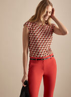 Geometric Print Top, Orange