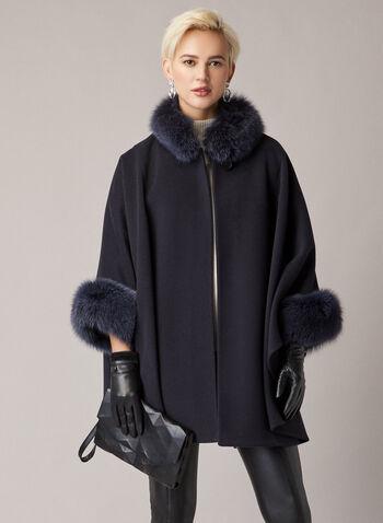 Mallia - Cape en laine, cachemire et fourrure, Bleu,  cape, manteau, laine, cachemire, fourrure, automne hiver 2020