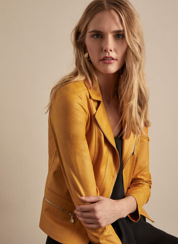 Vex - Faux Leather Jacket, Yellow,  spring summer 2020, faux-leather fabric, zipper detail, notch collar