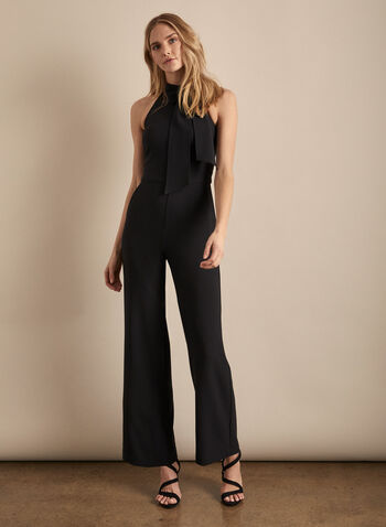 Vince Camuto - Sleeveless Crepe Jumpsuit, Black,  jumpsuit, high neck, tie, sleeveless, crepe, wide leg, pockets, fitted, spring summer 2020