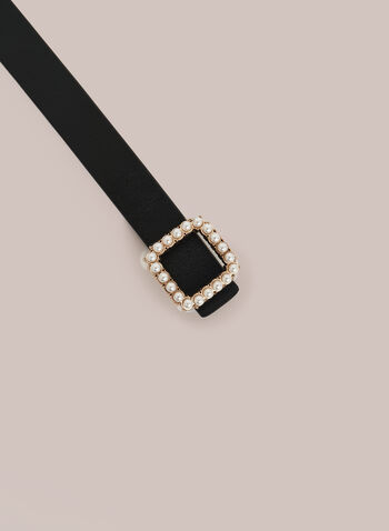 Pearl Detail Leather Belt, Black,  belt, leather, pearl, buckle, square, fall winter 2020