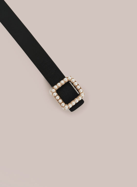 Pearl Detail Leather Belt, Black