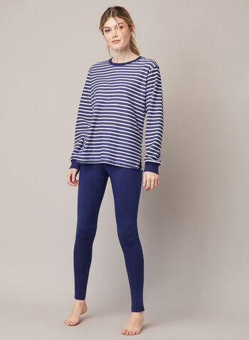 Stripe Print Pyjama Set, Blue,  fall winter 202, pyjama, set, two-piece, pants, t-shirt, stripe print, long sleeves