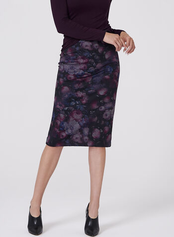 Floral Print Pencil Skirt, Red, hi-res