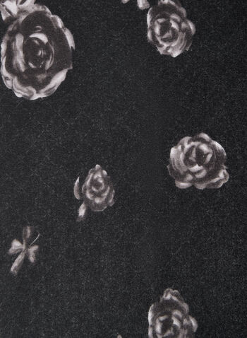 Rose Print Scarf, Black,  rose print, flower print, scarf, fall 2019, winter 2019