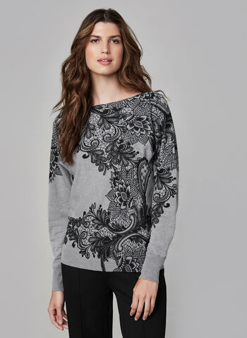 Lace Print Sweater, Grey,  fall winter 2019, knit, dolman sleeves, printed