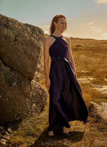 Alex Evenings - Cleo Neck Evening Dress, Purple,  dress, evening, cleo neck, twist, keyhole, jersey, satin, tie belt, pockets, spring summer 2020