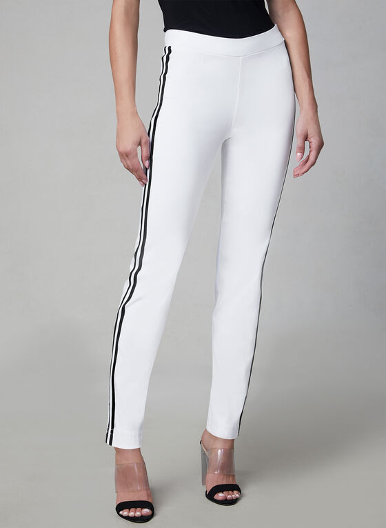 Pantalon pull-on à bandes contrastantes, Blanc