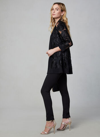 Frank Lyman - Mesh & Velvet Top, Black, hi-res,  open front, 3/4 sleeves, jersey trim, mesh & velvet finish, floral motif