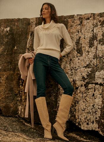 Pull à col roulé frangé, Blanc cassé,  automne hiver 2020, pull, tricot, chandail, haut, frange, col roulé, manches longues, manches dolman