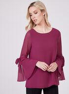 Layered Chiffon Bell Sleeve Blouse, Pink, hi-res