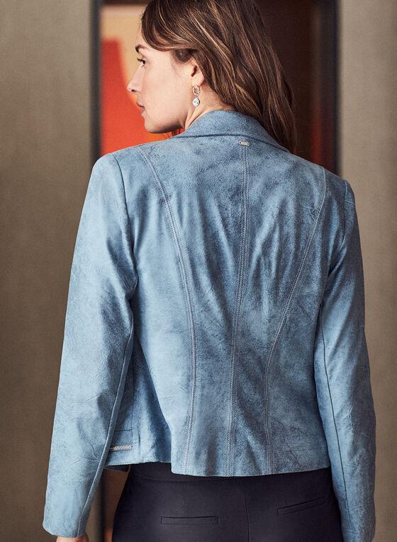 Vex - Blazer en faux cuir et détails zips, Bleu