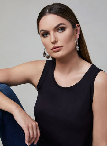 Sleeveless Top, Black, hi-res,  essential, basic, camisole, jersey, spring 2019
