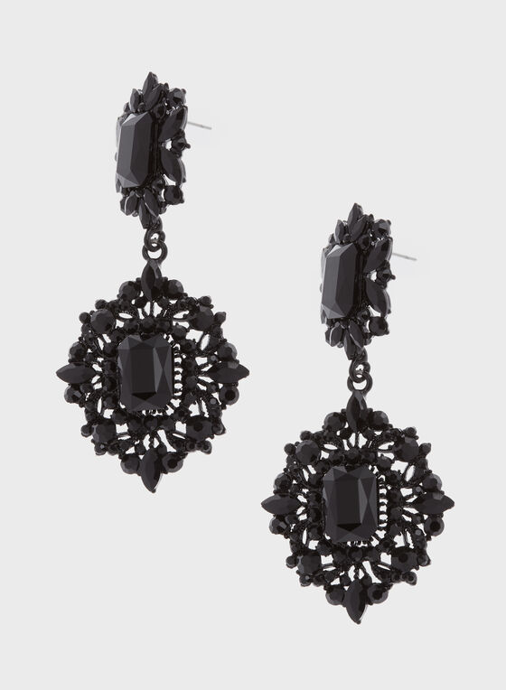 Tiered Facetted Crystal Drop Earrings, Black, hi-res