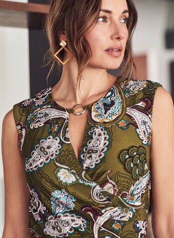 Sandra Darren - Paisley Print Dress, Green,  dress, day, sheath, paisley, keyhole, sleeveless, fall winter 2020