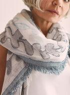 Foulard en jacquard à motif feuilles, Bleu