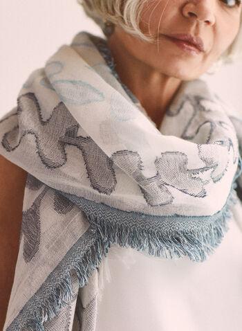 Foulard en jacquard à motif feuilles, Bleu,  accessoire, foulard, motif feuilles, jacquard, coton, printemps été 2021