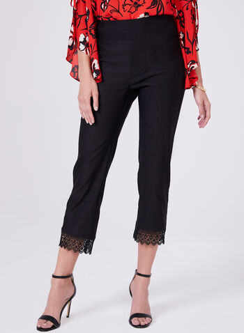 Lace Hem Capri Pants, Black, hi-res