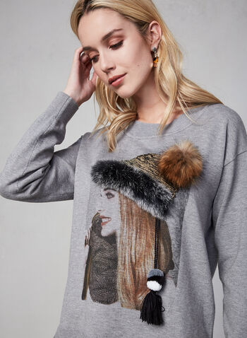 Gabby Isabella - Printed Sweater, Grey, hi-res,  sweater, knit, long sleeves, fall 2019, winter 2019