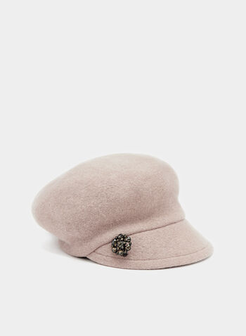 Crystal Embellished Wool Hat, Brown, hi-res