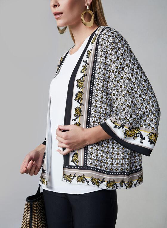 Open Front Kimono Blouse, Brown, hi-res
