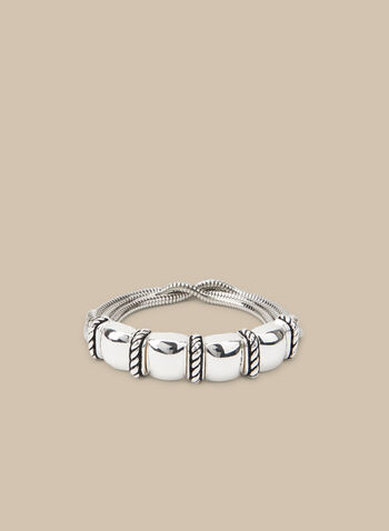 Metallic Stretch Chain Bracelet, Silver,  bracelet, metallic, stretch bracelet, spring 2020, summer 2020