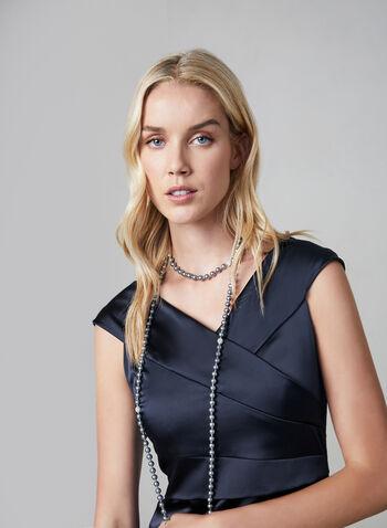 Satin Sheath Dress, Blue, hi-res,  cocktail dress, satin, sheath, shutter, portrait collar, fall 2019, winter 2019