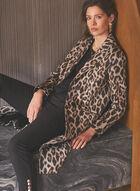 Leopard Print Notched Collar Coat, Black