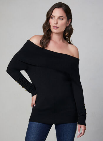 Off-the-Shoulder Sweater, Black,  sweater, knit, off-the-shoulder, fall 2019, winter 2019
