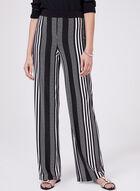 Stripe Print Pull-On Wide Leg Pants, Black, hi-res