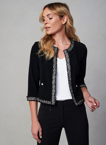 Joseph Ribkoff - Short Knit Jacket, Black, hi-res,  canada, short jacket, jacket, chanel, knit jacket, pearl, metallic, vintage, fall 2019, winter 2019
